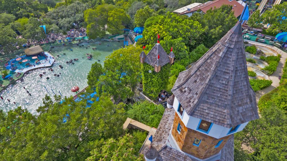 Aerial view of castle and water park at Schlitterbahn New Braunfels texas