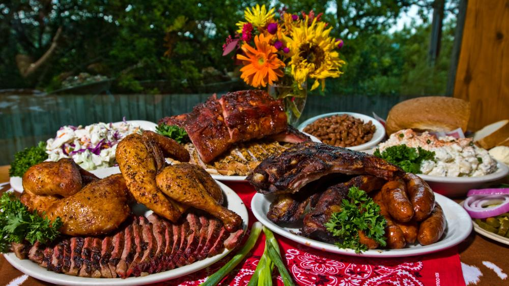 barbecue spread from The County Line BBQ in austin texas