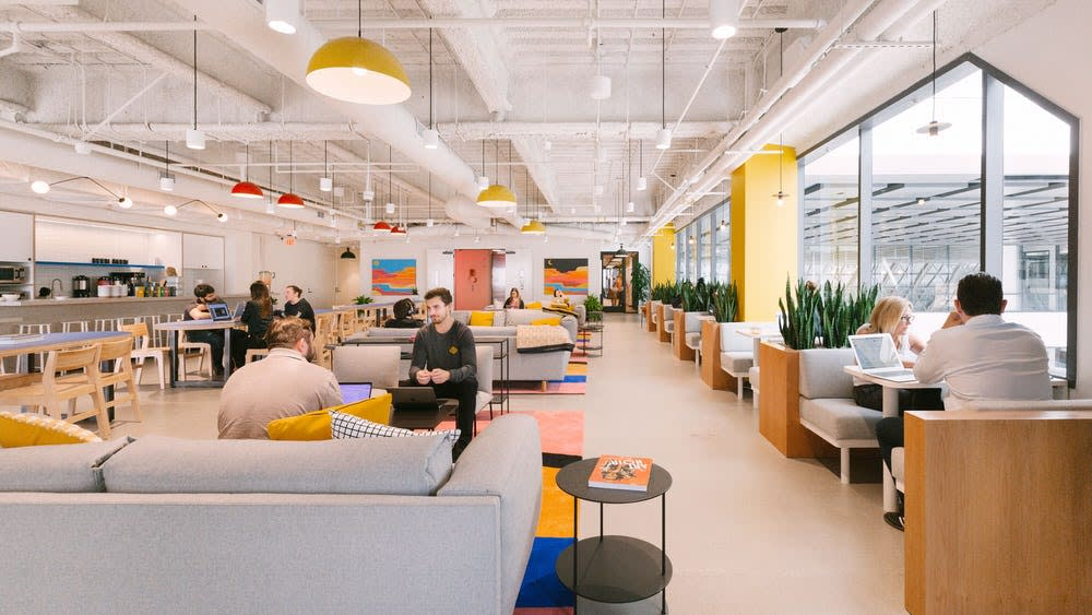 Teams enjoy the bright and airy space at WeWork in Columbus.