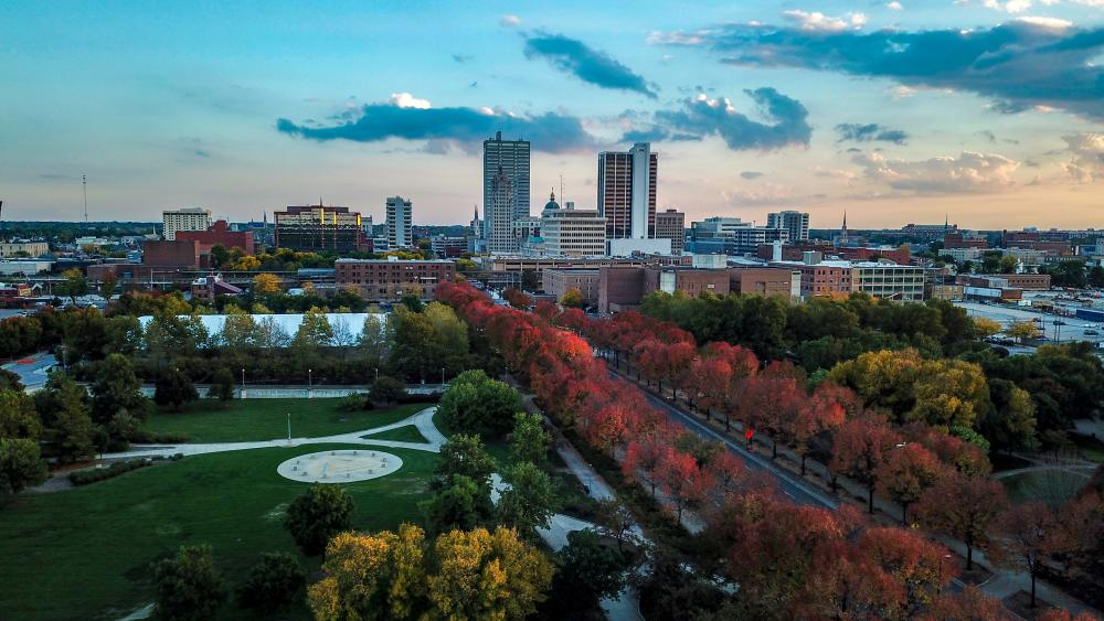 Fort Wayne Fall Skyline Drone Photo