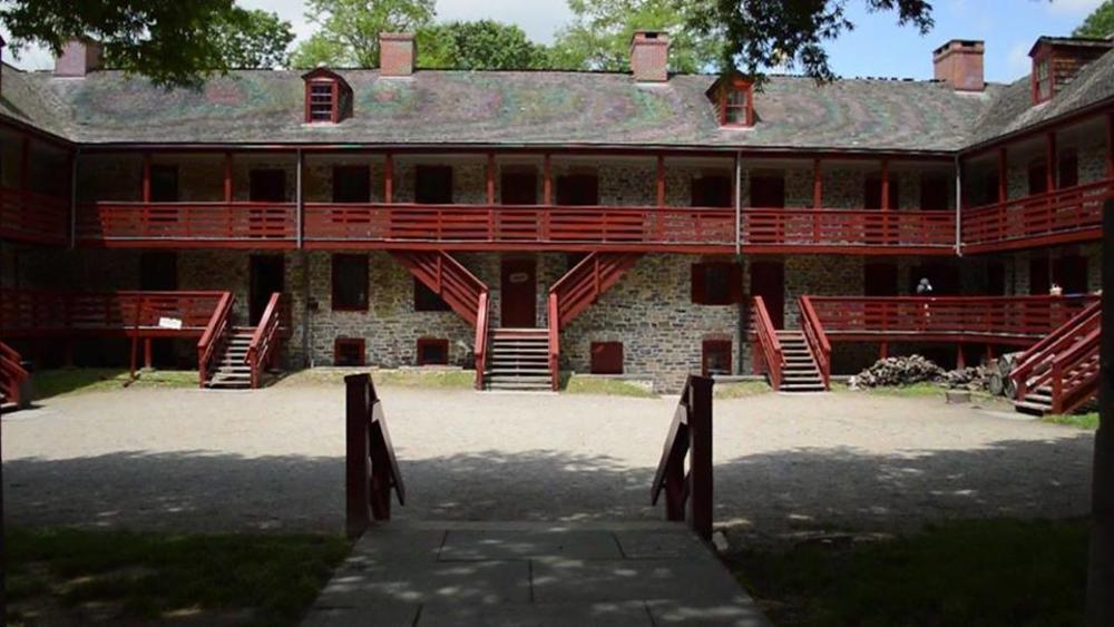 An interior view of the old barracks museum in Princeton