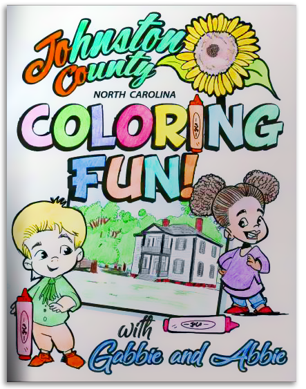Colored-in Cover of the Johnston County Coloring Book
