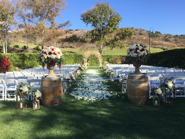 Outdoor wedding setting at Strawberry Farms Golf Club