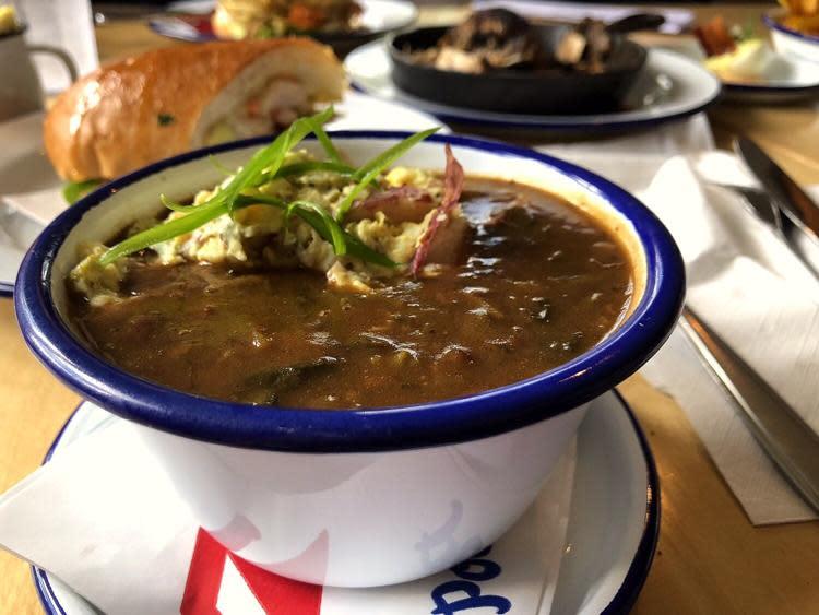 Mandeville's Hambone Restaurant serves a dark roux gumbo.