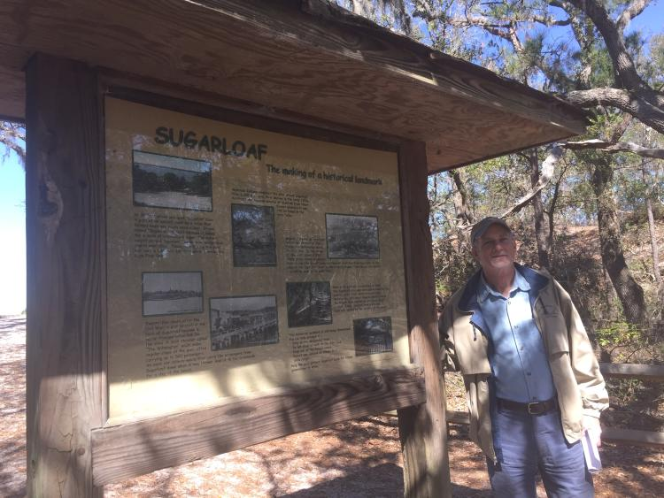Sugarloaf signage for Civil War mounds at Carolina Beach State Park