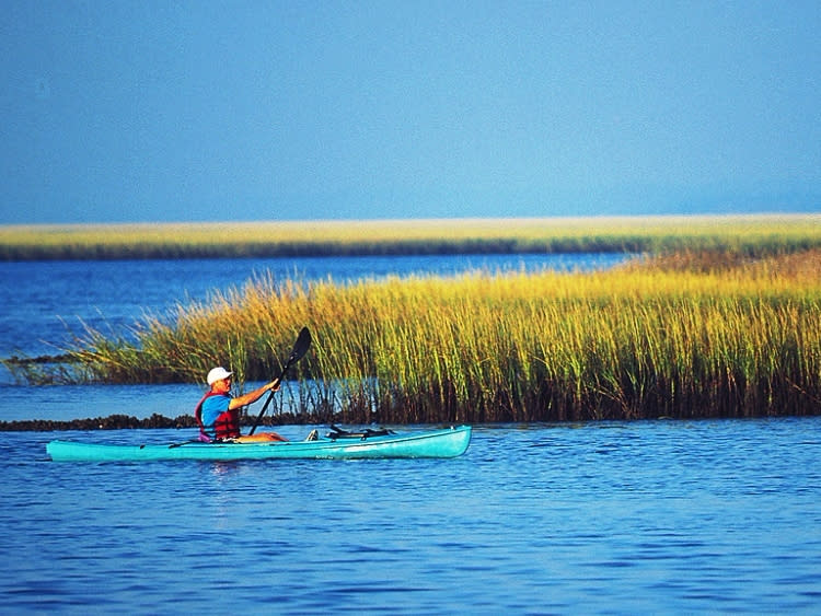 Sea kayaking off Kure Beach