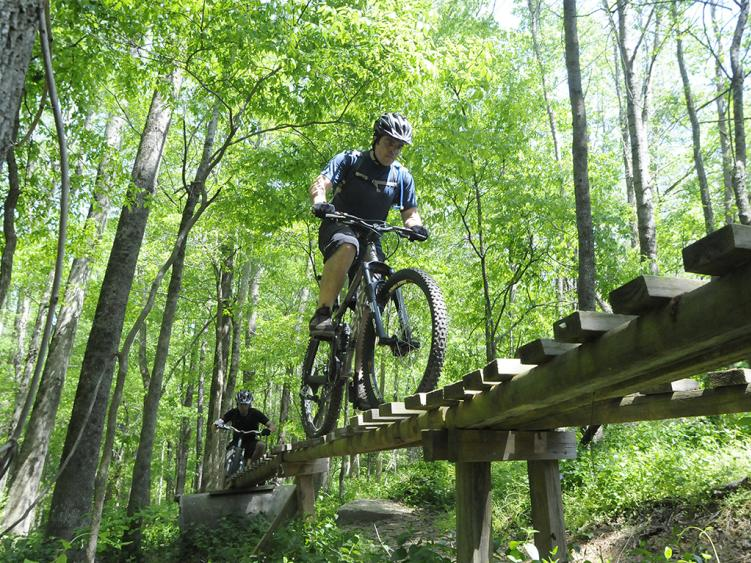 Mountain bike trail at Clayton Legend Park in Clayton NC.