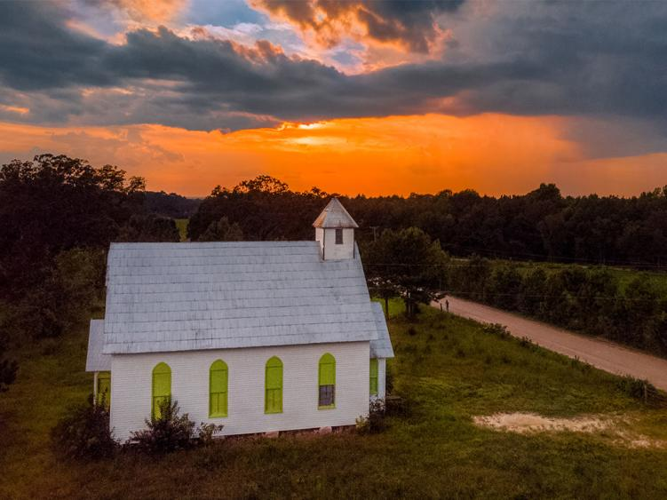 Clayton rural country church at sunset in Clayton NC.