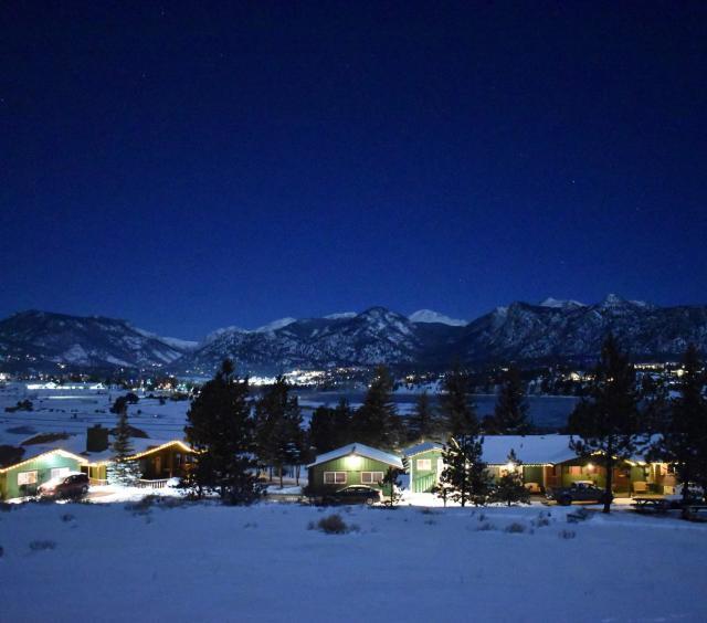 Estes Lake Lodge at night