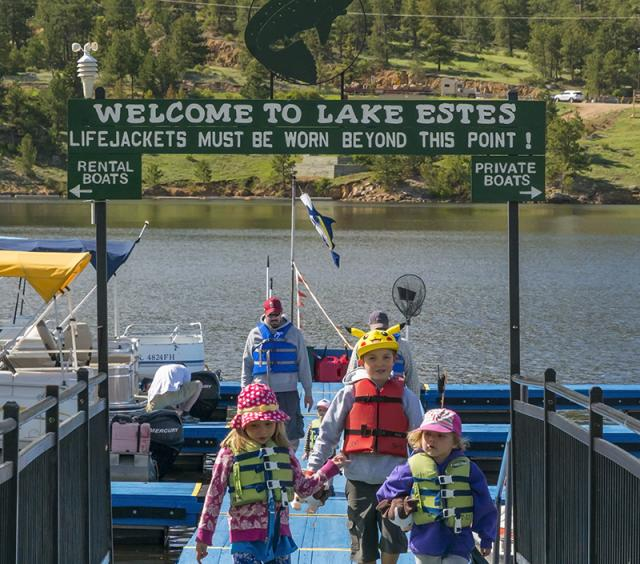 Kids on the Lake Estes Marina Dock