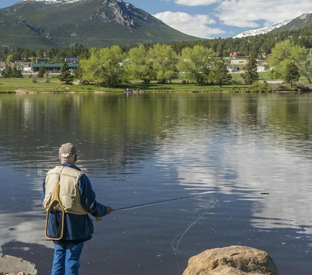 Fishing Along the Shore of Lake Estes