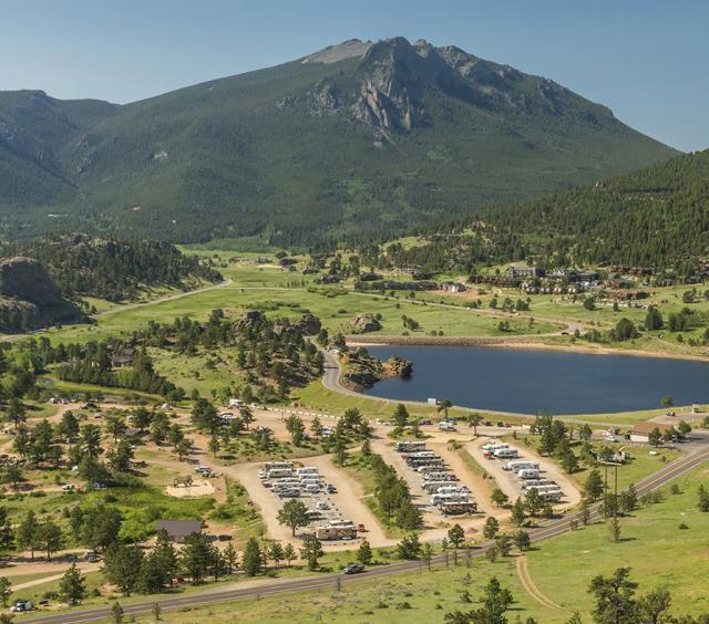 Aerial View of Estes Park Campground at Mary's Lake