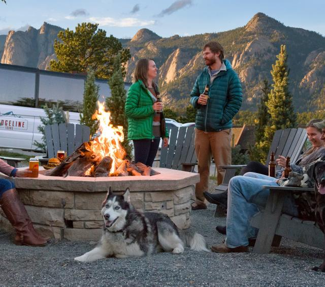 Fire pit with Dog