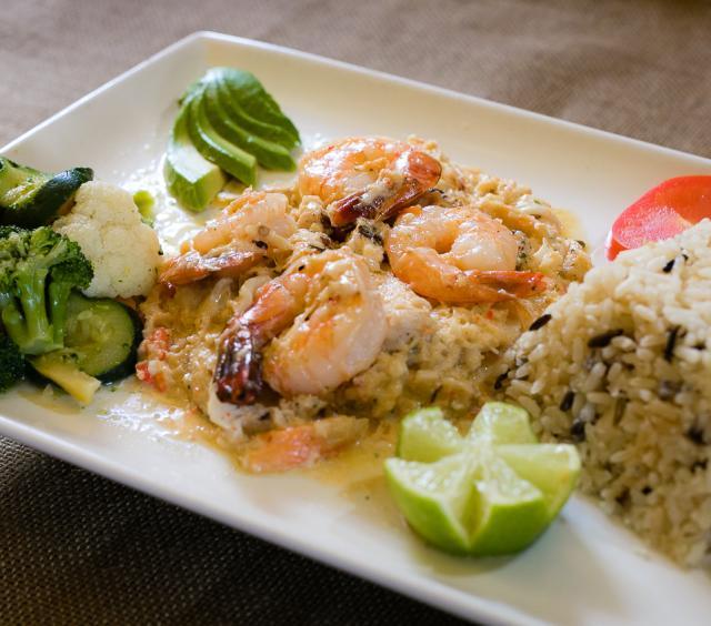 shrimp, rice veggies