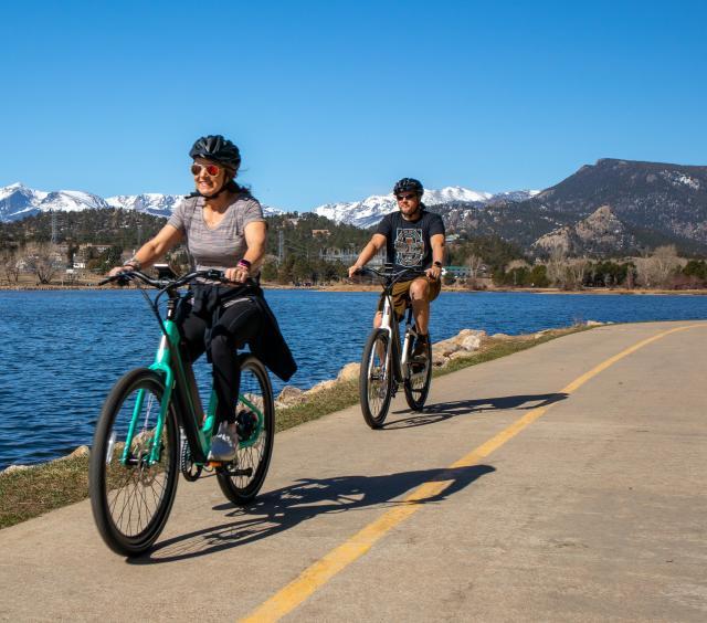 biking lake
