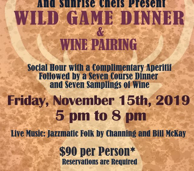 Wild game dinner and wine pairing