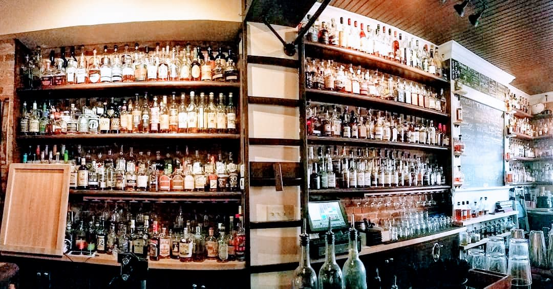 More than one hundred bourbons on the shelves of Old Kentucky Bourbon Bar