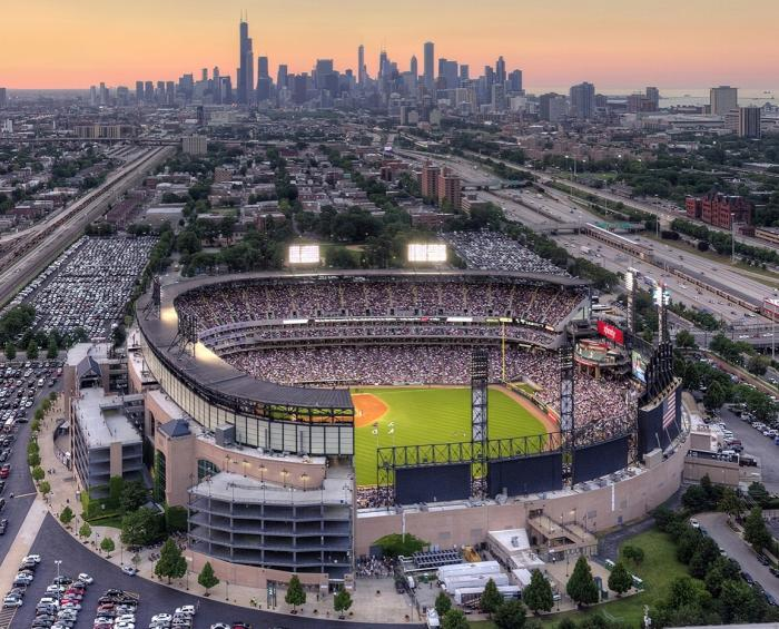 Aerial view of Guaranteed Rate Field in Chicago