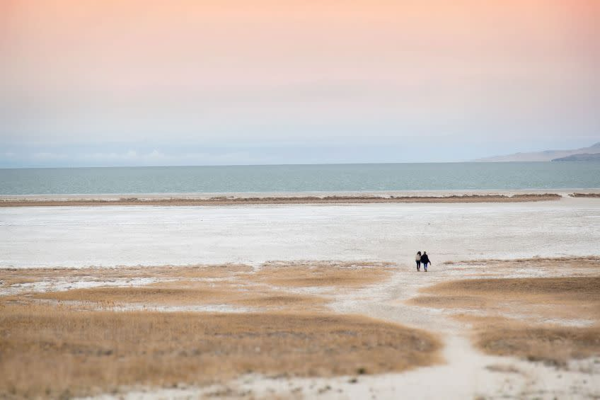 Antelope Island's Bridger Bay Beach offers lovely lake views