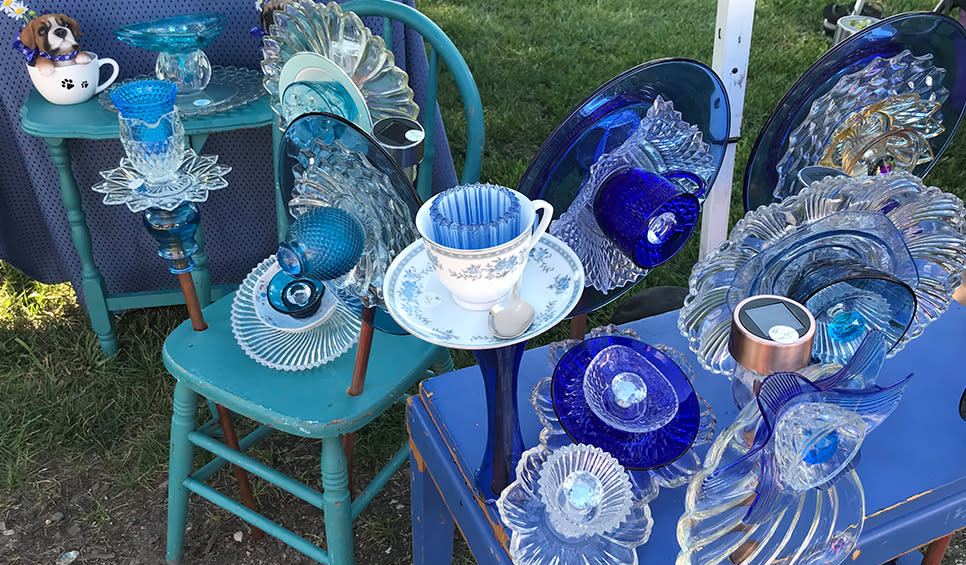 Cedar Lake Farmers Market blue glass art