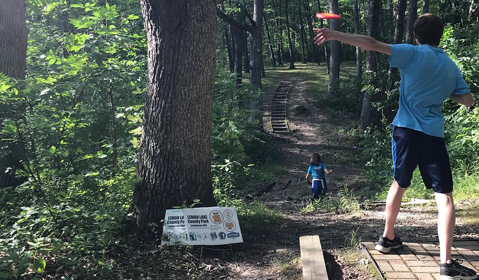 Lemon Lake County Park disc golf - taking at shot
