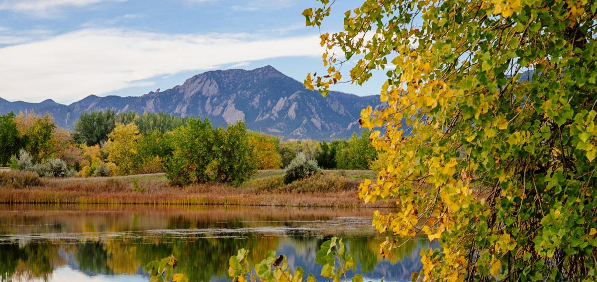 Sawhill Ponds in Boulder surrounded by Aspen leaves turning yellow