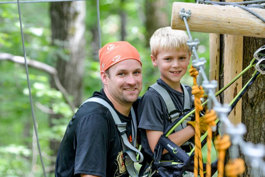 Father and Son at Bristol Mountain Aerial Adventures