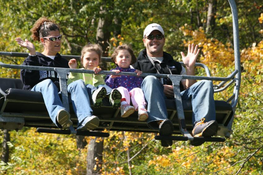 Family on Fall Sky Rides
