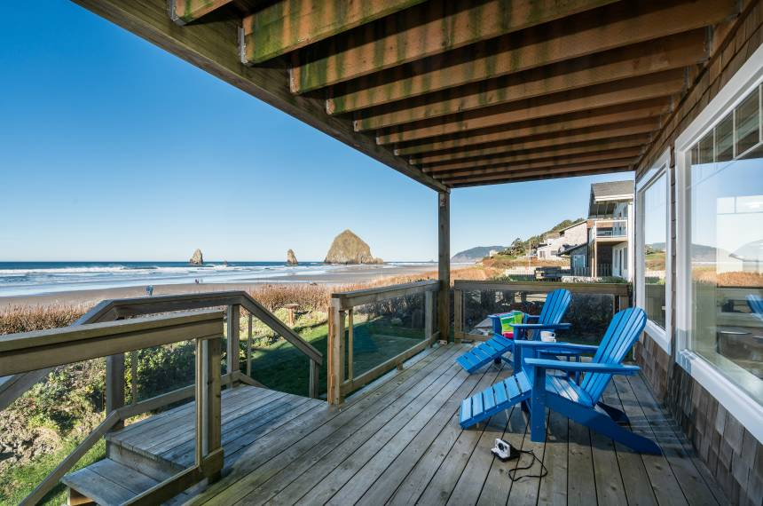 Deck view of Haystack Rock