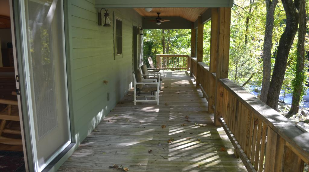 Back Porch of Chimney Rock River Cabin