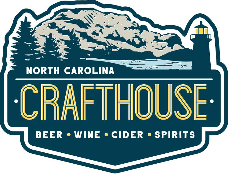 Logo Is Navy and Gold with a Lighthouse on a Rocky Coast with Pine Trees and Says North Carolina Crafthouse
