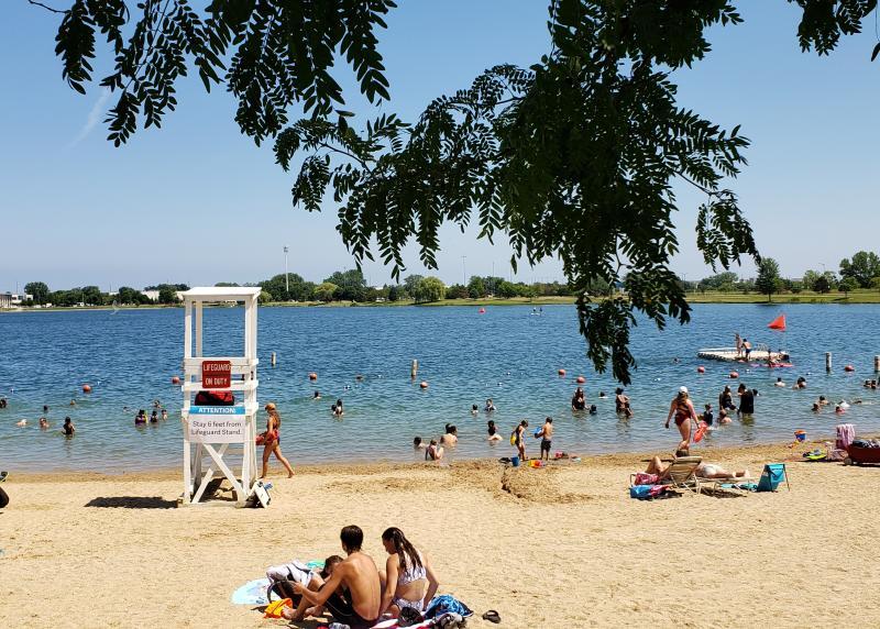 Lake Andrea Beach with Beach-Goers