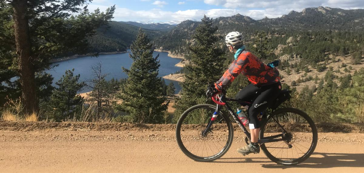 Woman Gravel Biking Gross Reservoir