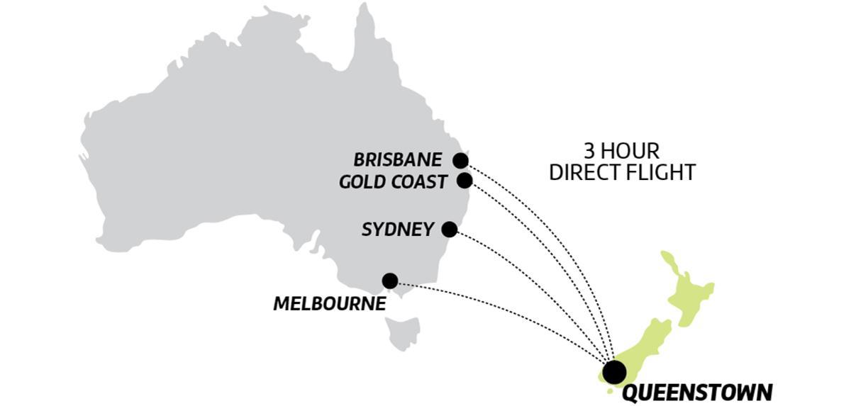 Australia to Queenstown direct flight map