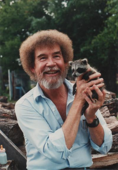 Bob Ross with a baby raccoon