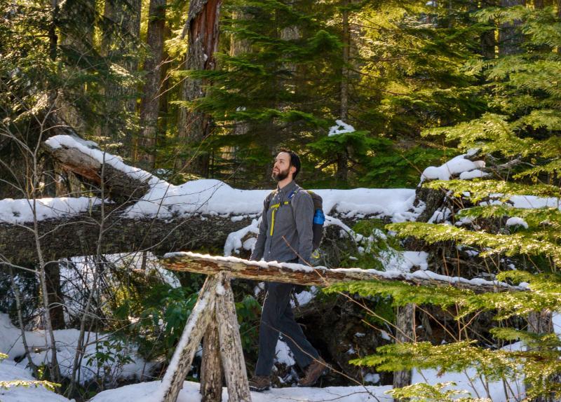 Diamond Creek Falls trail in snow by Melanie Griffin
