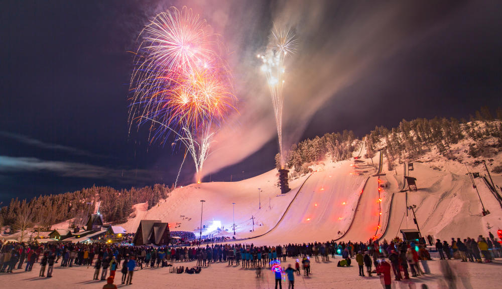 The fireworks display during the Night Extravaganza at Howelsen Hill over Winter Carnival