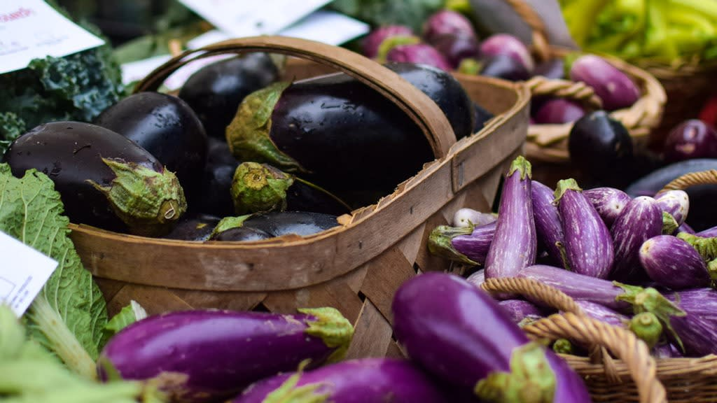 Baskets full of freshly picked eggplants at the Lexington Farmers' Market.
