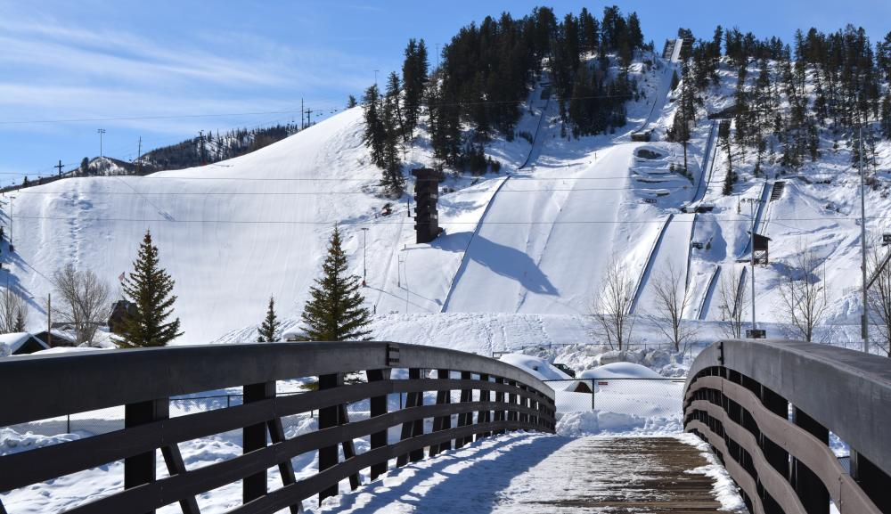 9th street bridge provides views of Steamboat Resort, the Yampa River and Howelsen Hill in downtown Steamboat Springs