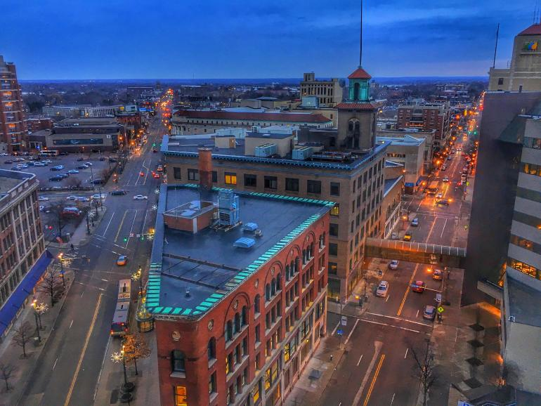 View of East End Cultural District from the Penthouse Rochester
