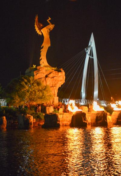 The Keeper of the Plains statue at night with the ring of fire celebration.