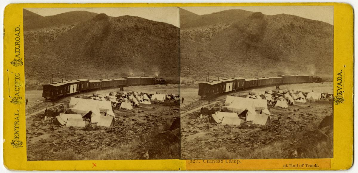 Alfred A. Hart (American, 1816–1908), Chinese Camp, at End of Track, 1868, albumen stereograph, courtesy Union Pacific Railroad Museum