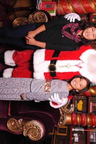 small kids with santa
