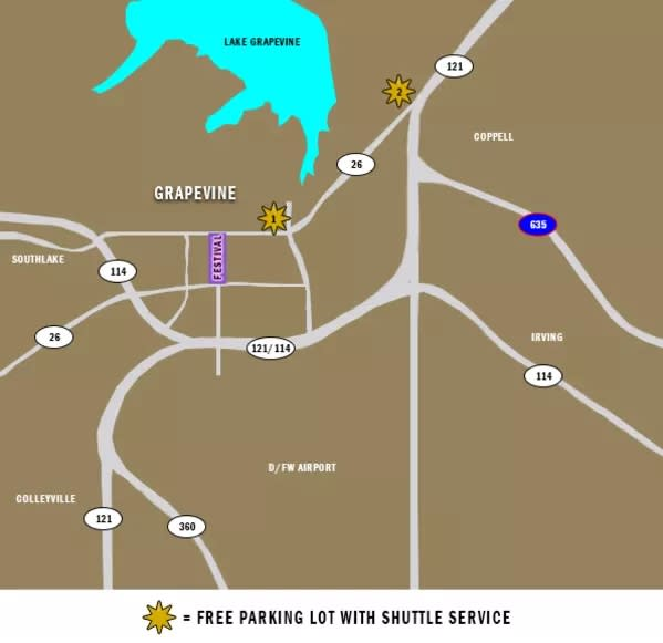Free Parking with Shuttle Map