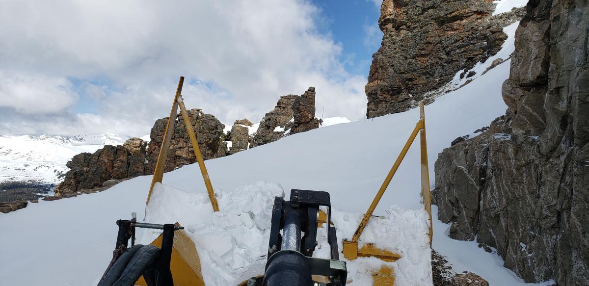 Snowplow at Rock Cut in April