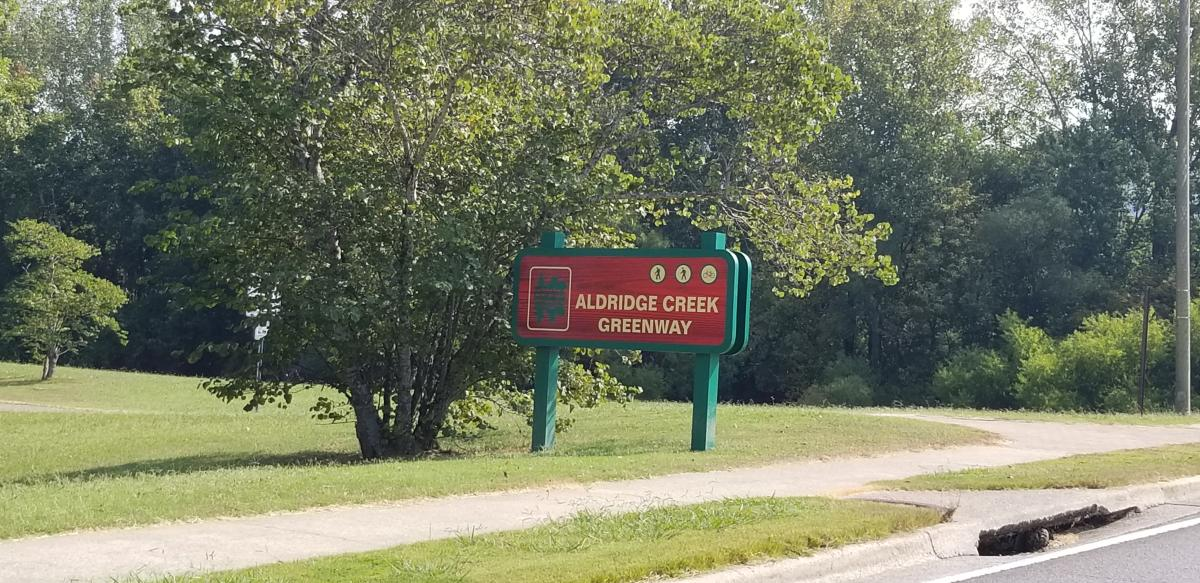 Aldridge Creek Greenway Sign