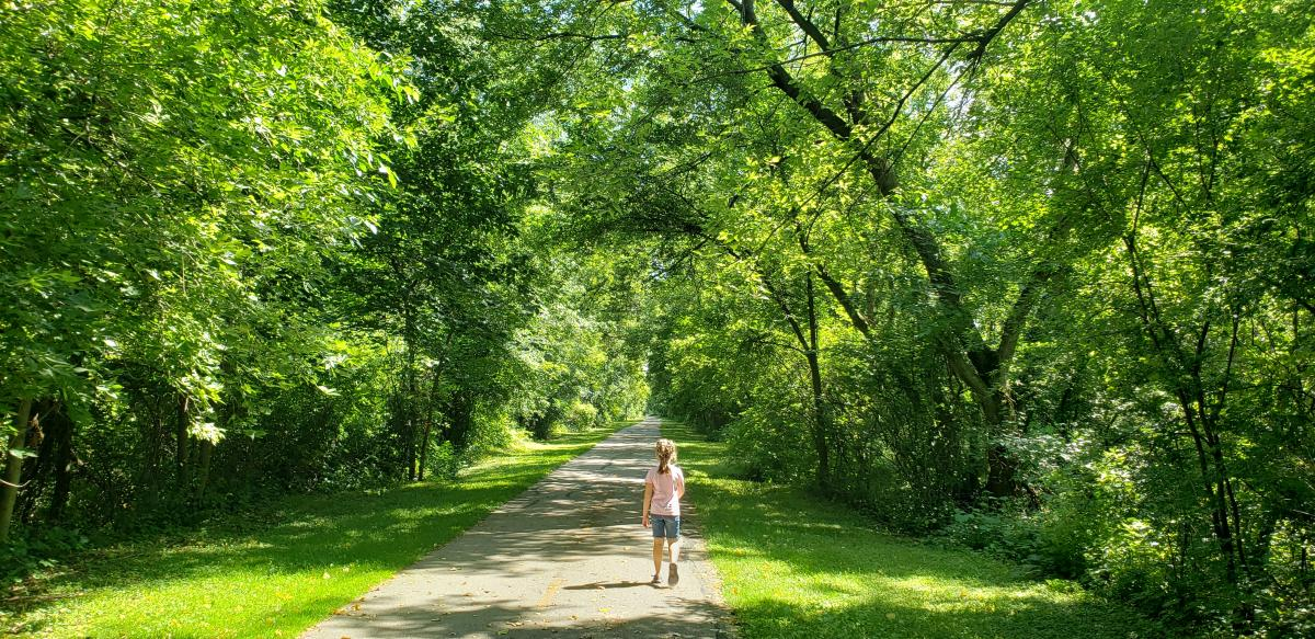 Kenosha County Bike Trail - Girl on Trail