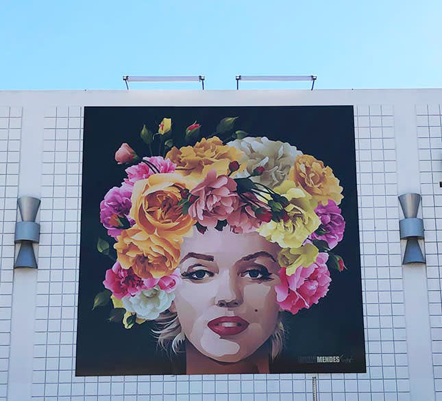 Mural of Marilyn Monroe with flower crown