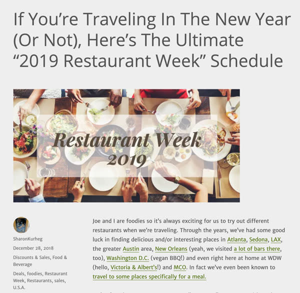 YMMV - 2019 Restaurant Weeks