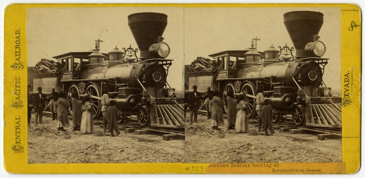 Alfred A. Hart (American, 1816–1908), Shoshone Indians Looking at Locomotives on Desert, 1868, albumen stereograph, courtesy Union Pacific Railroad Museum